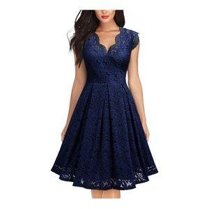 NavyBlue Floral Lace Short Sleeve V-Neck Dress